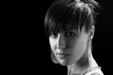 shot of attractive girl with modern hairstyle