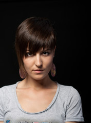 Young and attractive girl with asymmetrical hairstyle