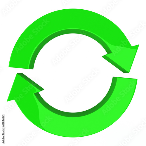 Circle of two arrows, symbol of recycle, refresh and reload, 3d