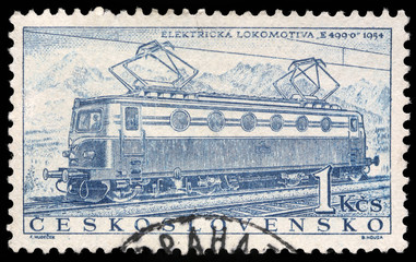 Stamp printed in Czechoslovakia showing the 'E499.0' Locomotive