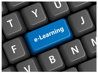 "E-LEARNING"" Key on Keyboard (education training studies mooc)"