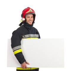 Fireman carrying blank placard.