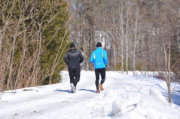 Running in a snow covered road