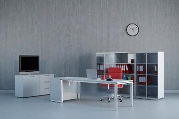 Modernes Büro mit Schreibtisch und Möbeln