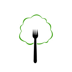 Fork like a tree- Logo for organic food