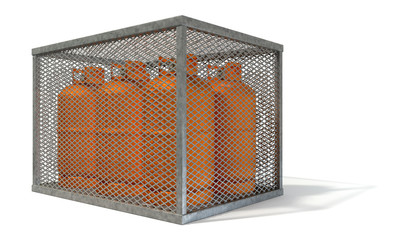 Steel Cage With Gas Bottles