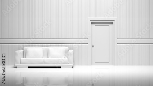 3D empty room, walls, door and sofa