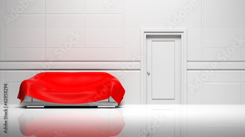 3D empty room, walls, door and sofa with red cover