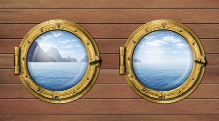 two ship windows or portholes with sea or ocean with tropical is
