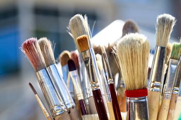 Soiled paintbrushes