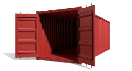 Shipping Container Red Open Empty