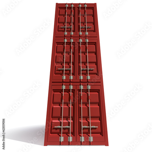 Shipping Container Red Stack