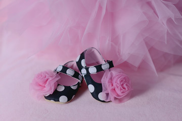on pink tulle children are black shoes with roses