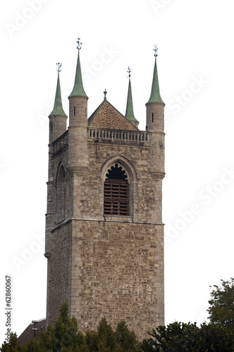 The All Saints Church in Vevey, Switzerland, Isolated on White