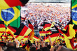 canvas print picture - German soccer fans, public viewing