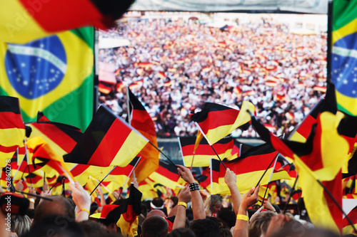 canvas print picture German soccer fans, public viewing