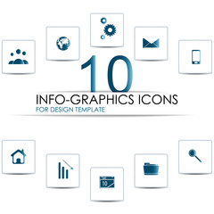Set of info-graphics icons - design for template