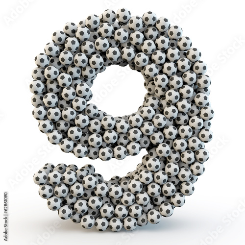 3D number nine made from football balls