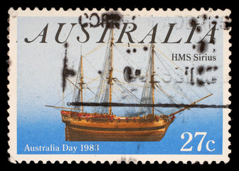 Stamp from Australia shows ship HMS Sirius, circa 1983