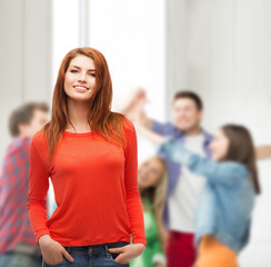 smiling teen girl at school