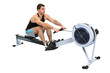 man doing indoor rowing
