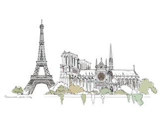 Paris, sketch collection: Notre Dame and Eiffel tower