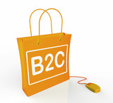 B2C Bag Represents Online Business and Buying poster