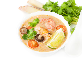 Tom yam. Traditional Thai spicy soup. Seafood.