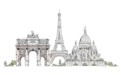 Paris, sketch collection: Notre Dame, Arch and Luevre