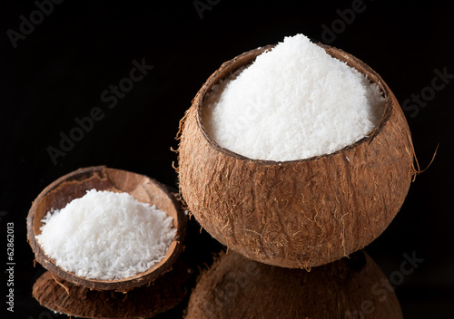Coconut shavings and  bowl of coconut