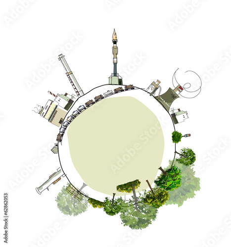 Industrial planet, Environmental concept,  city collection
