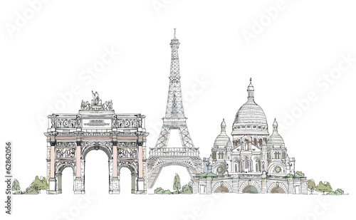 Paris, sketch collection: Notre Dame, Arch and Luevre