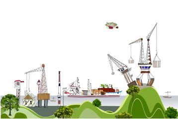 Big port illustration, city collection