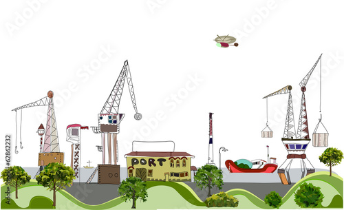 Big port illustration, city collection