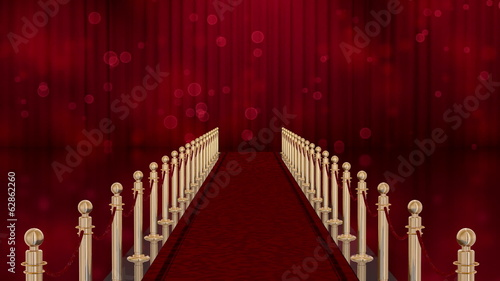 Red carpet entrance with burst lights