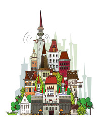 Town illustration, city collection