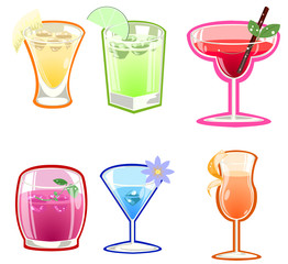 Variety of cocktails illustration on white background