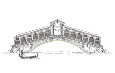 Venice, sketch collection of famous buildings