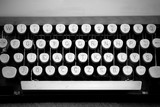 Keyboard of an old typewriter , black and white photo - 62862800