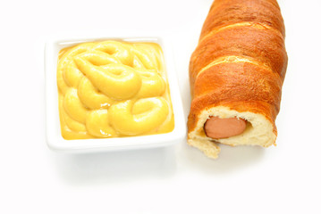 Honey Mustard with a Pretzel Dog