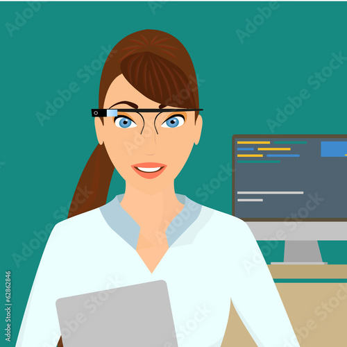 Businesswoman close-up wearing a smart glasses