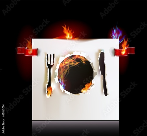Ripped paper collection and flames, Plate, knife and fork