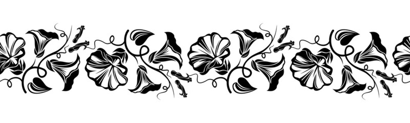 Horizontal seamless vignette with bindweed flowers. Vector.