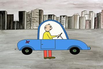 voiture anti-pollution, bon vieux système de la marche à pied !