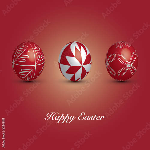 Happy Easter Card - Set of Three Red Eggs with Ornaments