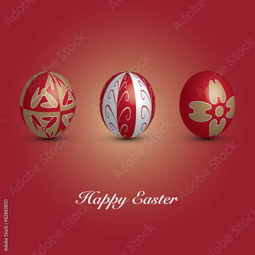 Happy Easter Card - Three Red Eggs with Ornaments