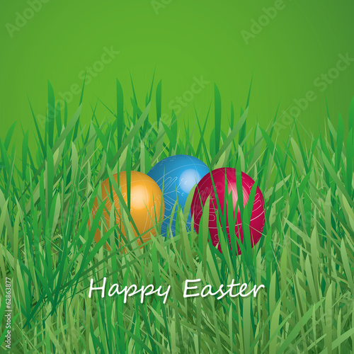 Happy Easter Card - Three Easter Eggs in the Grass