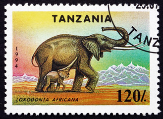 Postage stamp Tanzania 1994 African Elephant, Animal