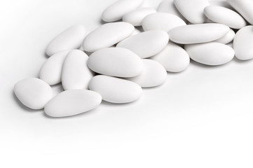 white sugared almonds