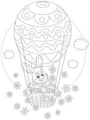 Easter Bunny flying in a balloon with flowers